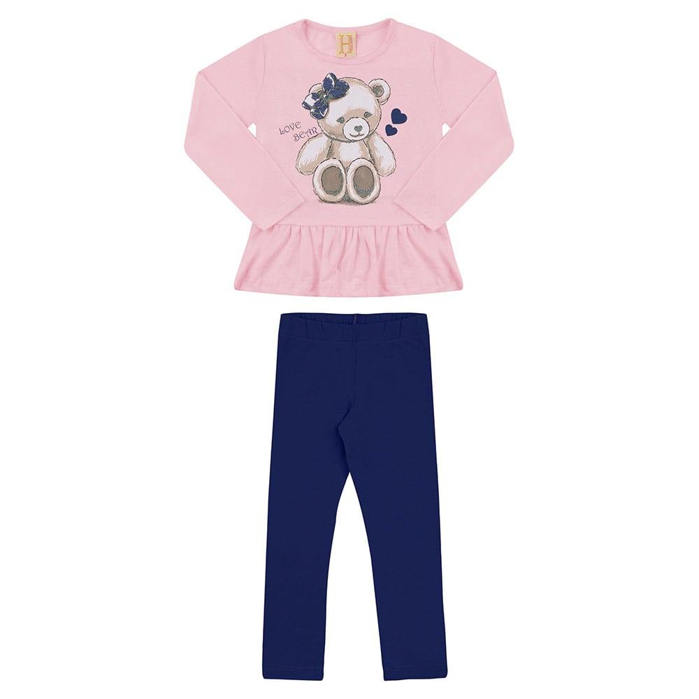 Conjunto Infantil Urso Rosa  - Jeito Infantil