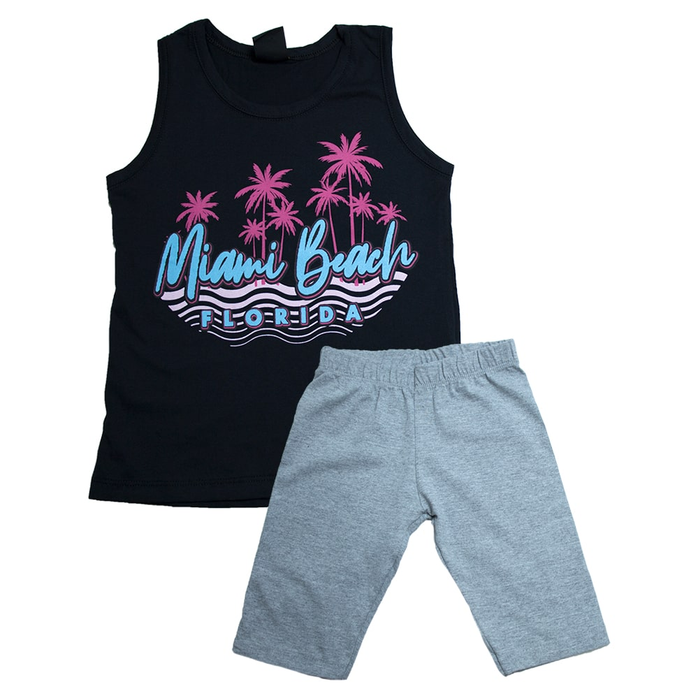 Conjunto Juvenil Miami Beach Preto  - Jeito Infantil