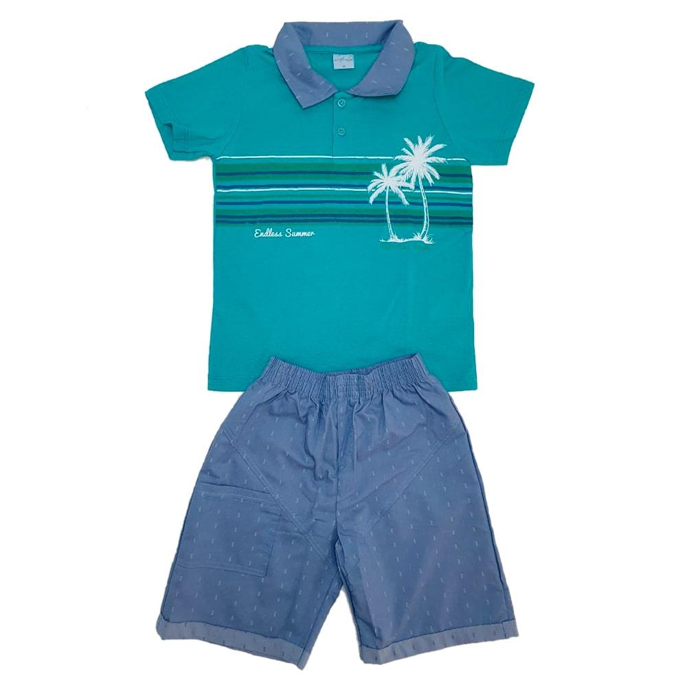 Conjunto Juvenil Polo Verde  - Jeito Infantil