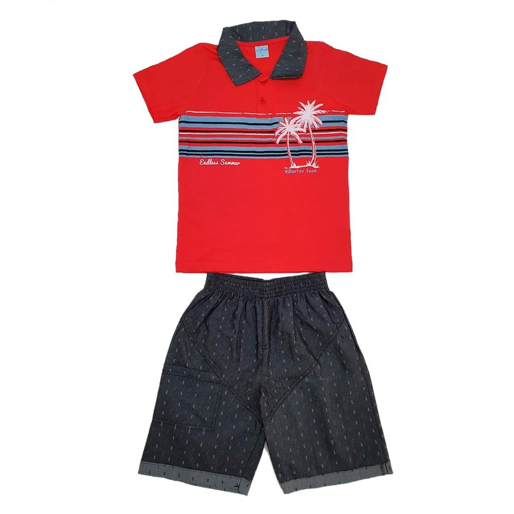 Conjunto Juvenil Polo Vermelho  - Jeito Infantil