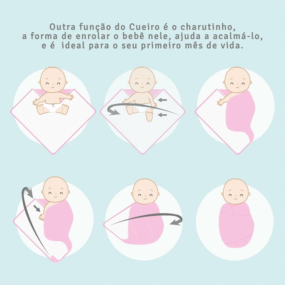 Cueiro Bebê Flanelado Floral Composê Branco  - Jeito Infantil