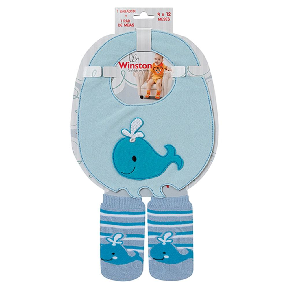 Kit Bebê Babador e Meias Baleia Winston Azul  - Jeito Infantil