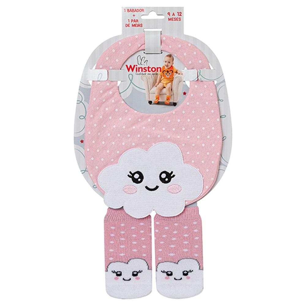 Kit Bebê Babador e Meias Nuvem Rosa  - Jeito Infantil