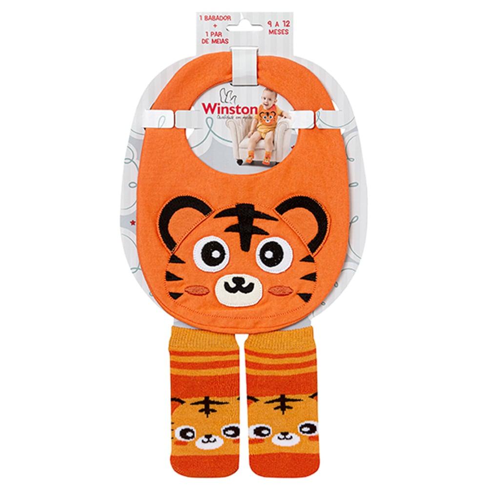 Kit Bebê Babador e Meias Tigre Laranja  - Jeito Infantil