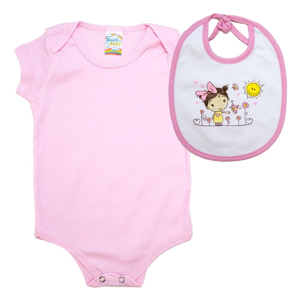 Kit Bebê Body e Babador Estampado Rosa Claro  - Jeito Infantil