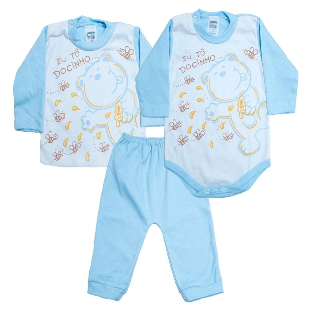 Kit Bebê Body e Blusa Baby Azul  - Jeito Infantil