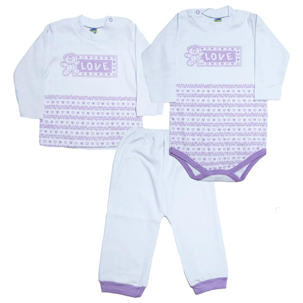 Kit Bebê Body e Blusa Lilás  - Jeito Infantil