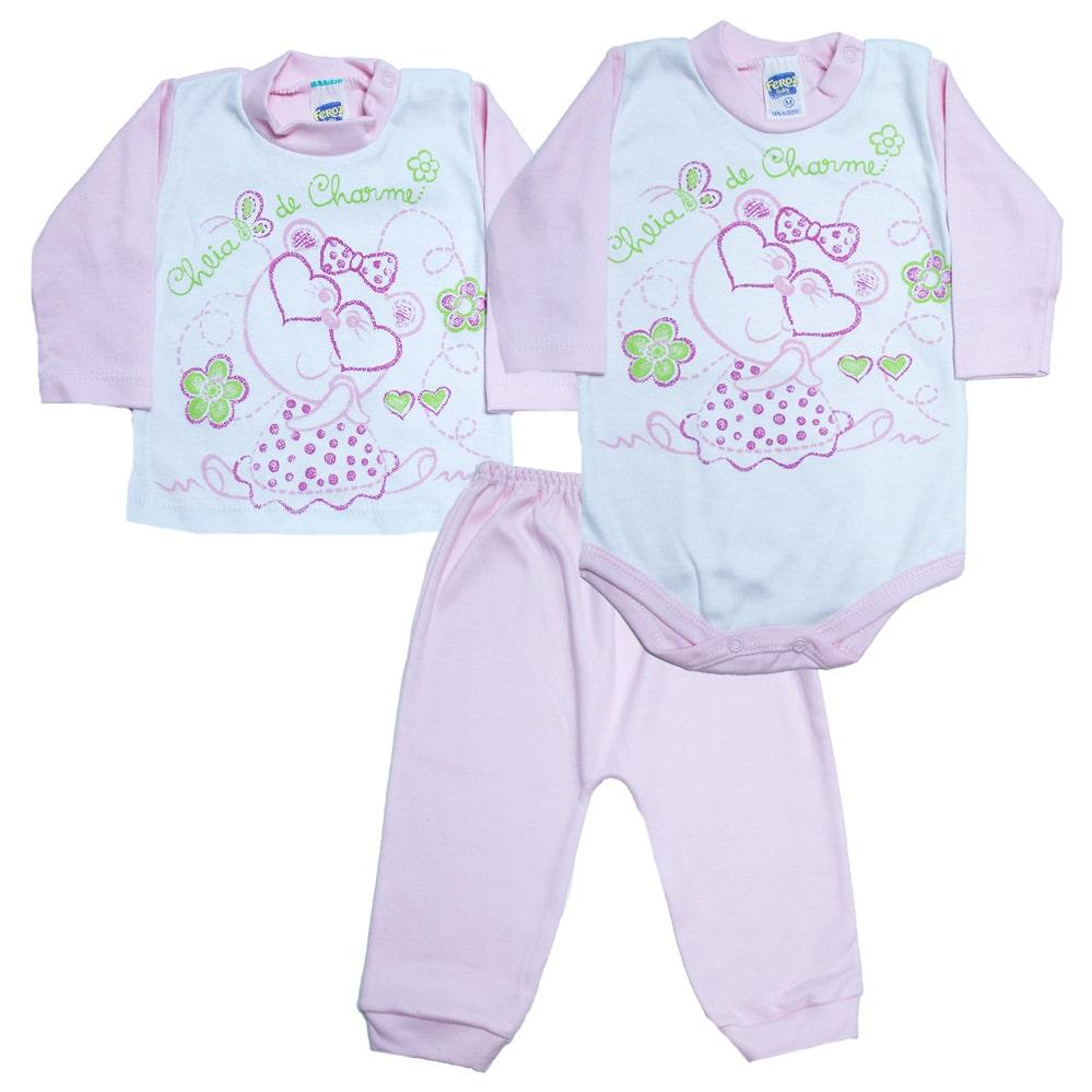 Kit Bebê Body e Blusa Rosa  - Jeito Infantil