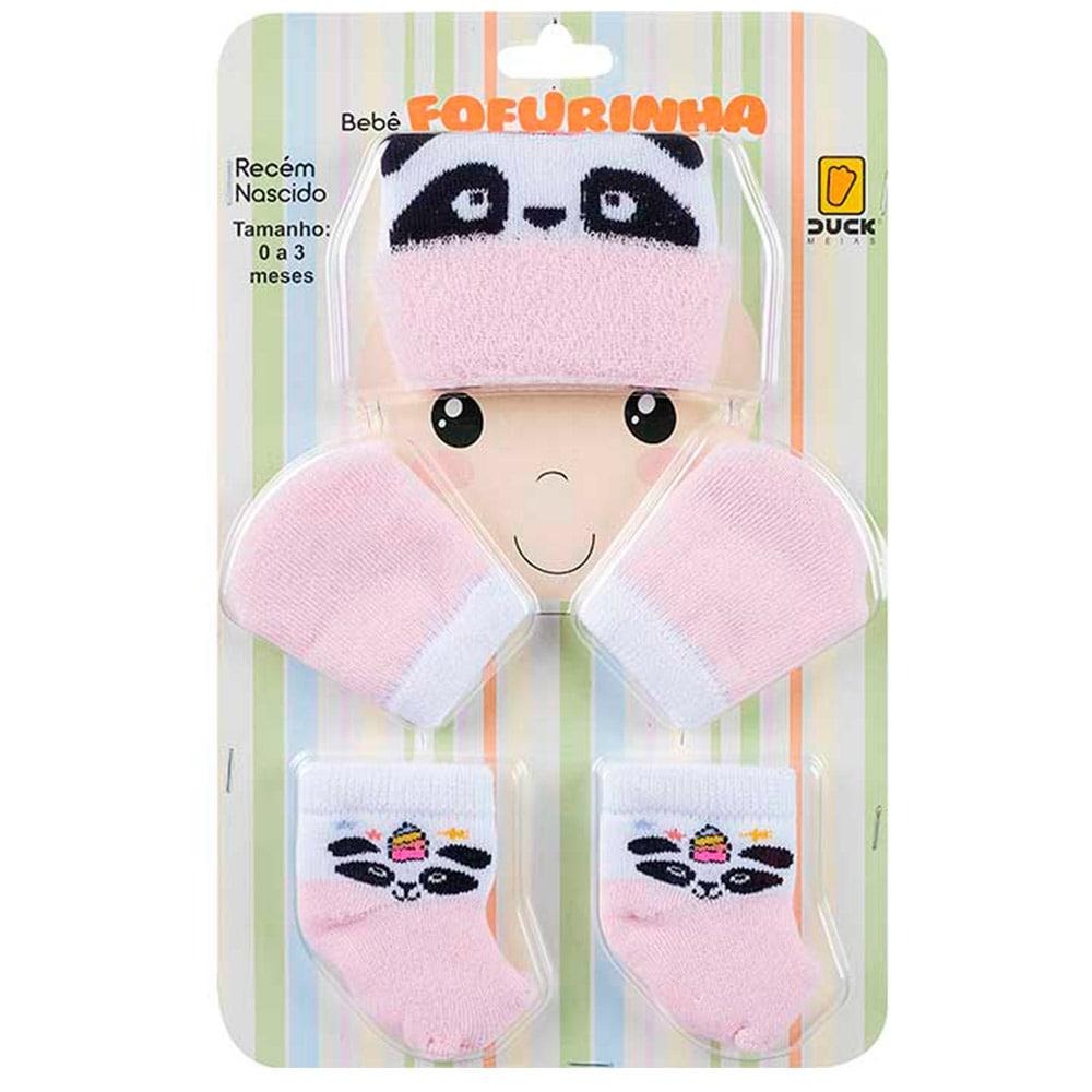 Kit Bebê Fofurinha Touca, Luva e Meia Panda Rosa  - Jeito Infantil