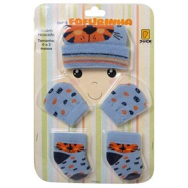 Kit Bebê Fofurinha Touca, Luva e Meia Tigre Azul  - Jeito Infantil