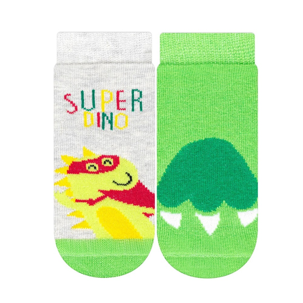 Kit Meias Bebê Super Dino Verde e Mescla  - Jeito Infantil