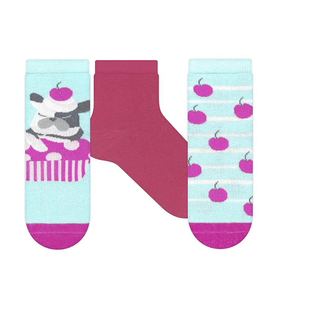 Kit Meias Soquete Dog Azul e Pink  - Jeito Infantil