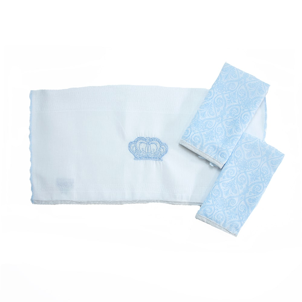 Kit Pano De Boca Coroa 03 Peças Azul  - Jeito Infantil