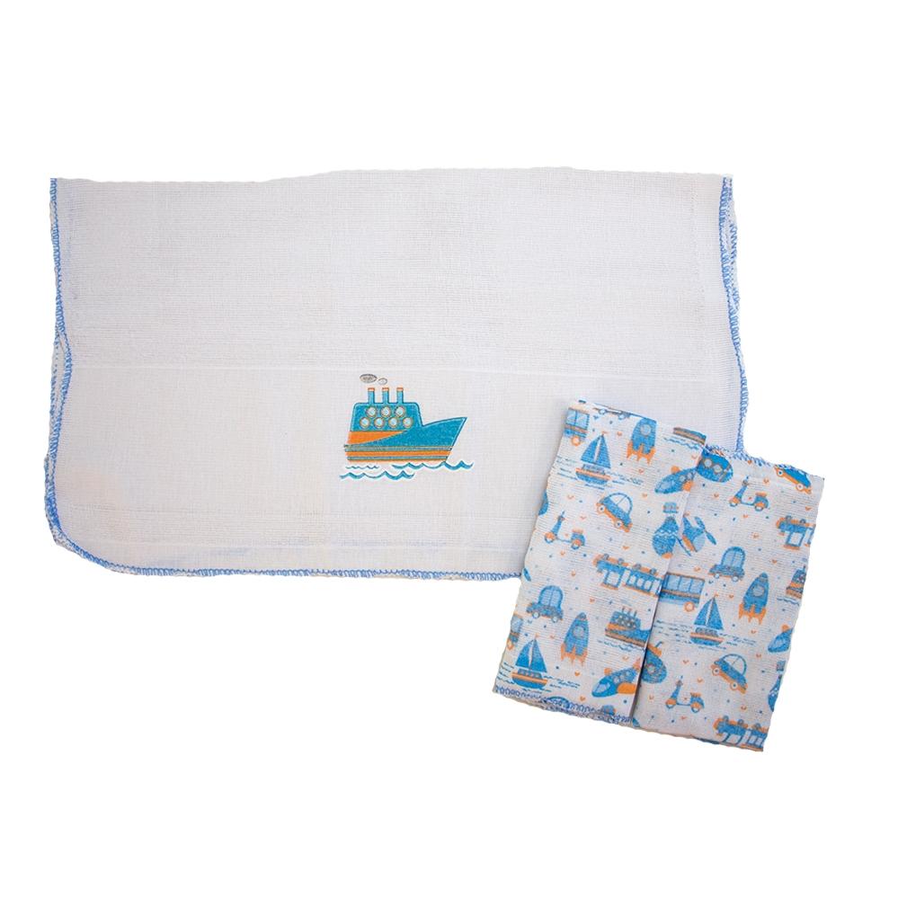 Kit Pano De Boca Estampa Barquinhos 03 Peças Branco e Azul  - Jeito Infantil