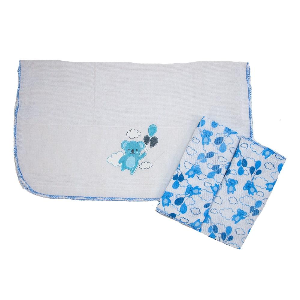 Kit Pano De Boca Estampa Ursinhos 03 Peças Branco e Azul  - Jeito Infantil