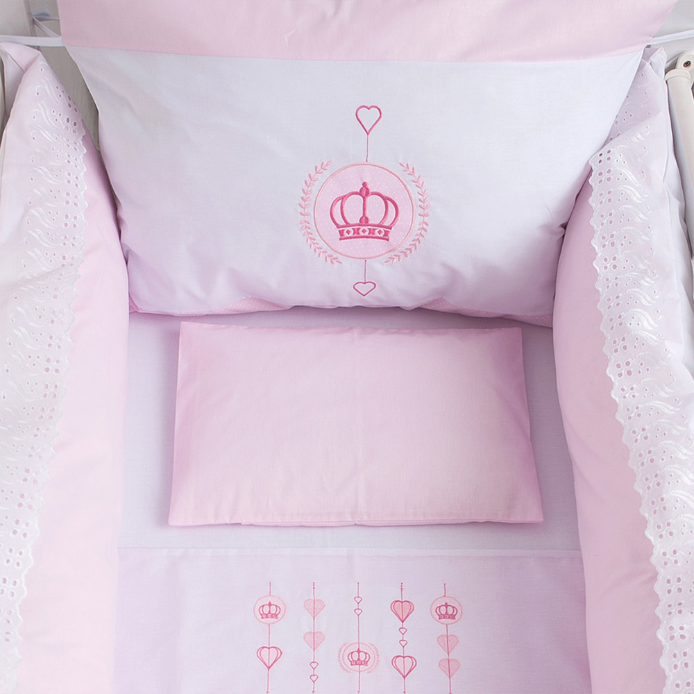 Kit Protetor De Berço Bordado Coroa Rosa  - Jeito Infantil