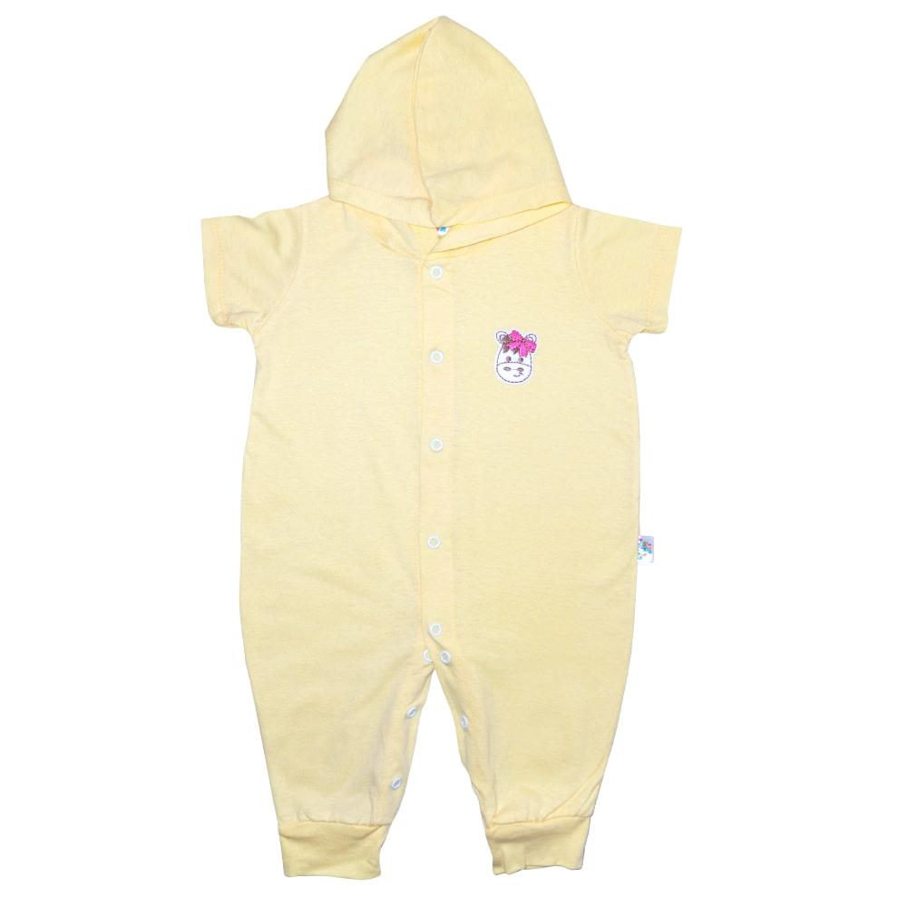 Macacão Bebê Aplique Com Capuz  Amarelo  - Jeito Infantil