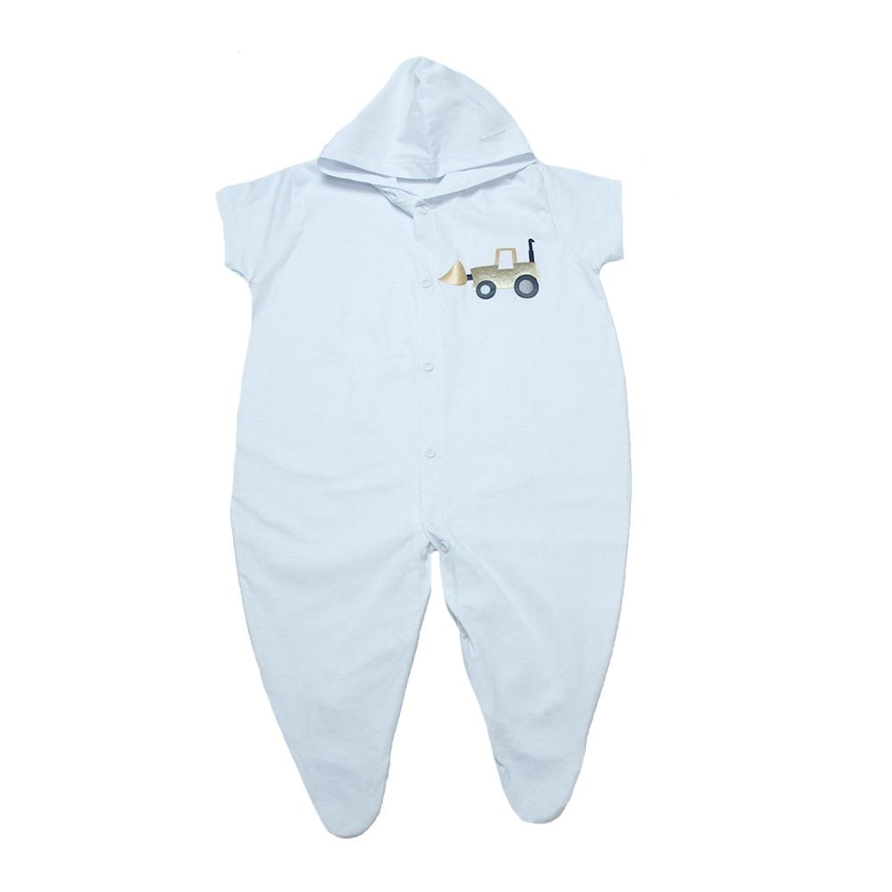Macacão Bebê Aplique Com Capuz  Branco  - Jeito Infantil