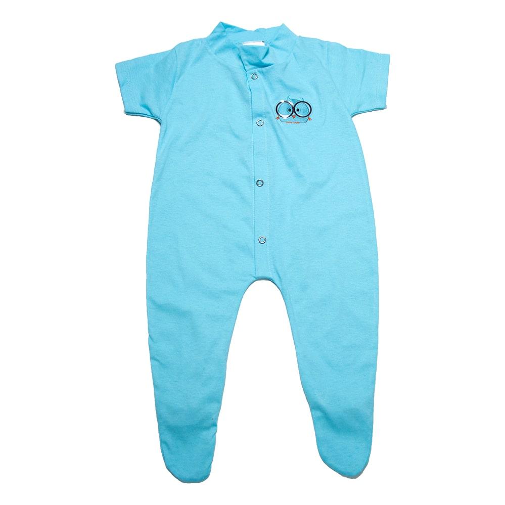Macacão Bebê Aplique Com Pézinho Azul  - Jeito Infantil