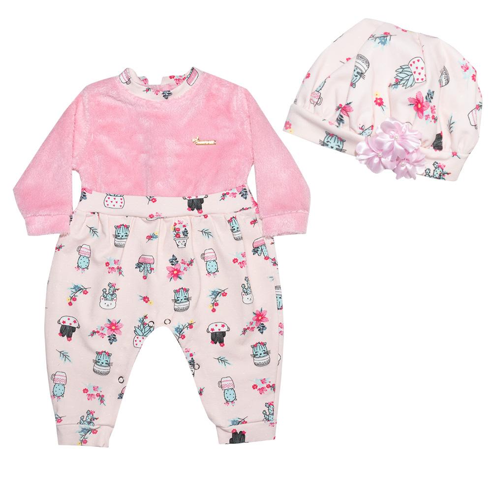 Macacão Bebê Cactos Com Boina Rosa  - Jeito Infantil