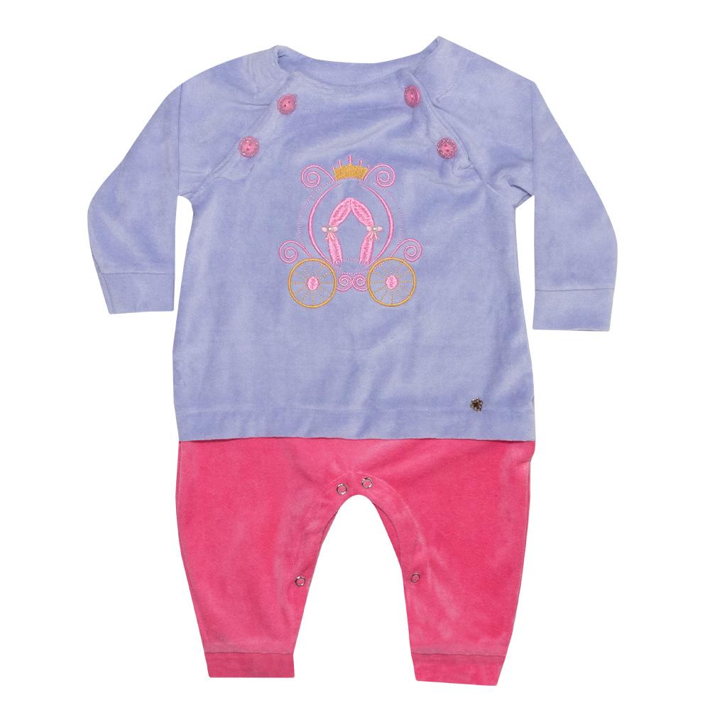 Macacão Bebê Carruagem Lilás e Rosa  - Jeito Infantil