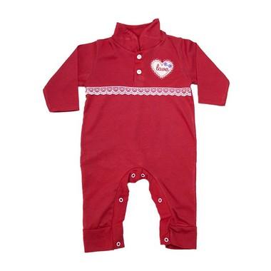 Macacão Bebê Com Aplique e Rendinha  Vermelho  - Jeito Infantil