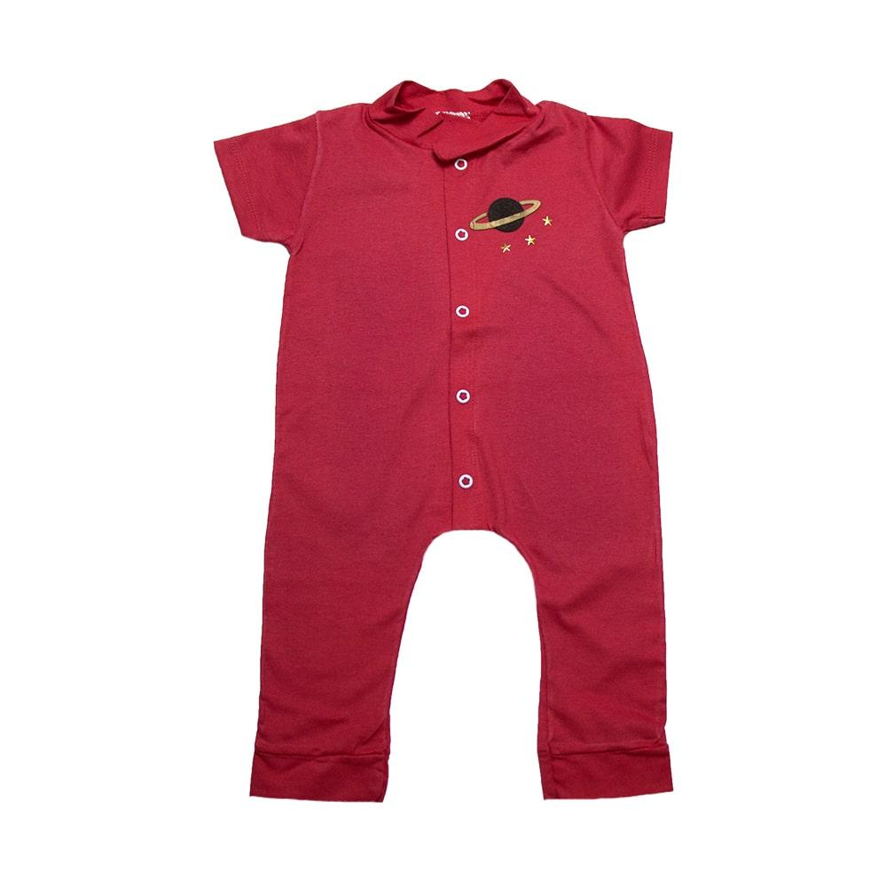 Macacão Bebê Com Aplique  Vermelho  - Jeito Infantil