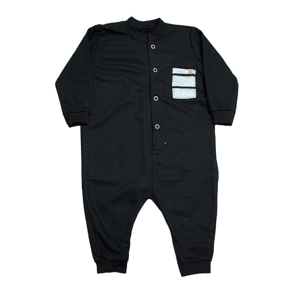 Macacão Bebê Com Bolso   Preto  - Jeito Infantil