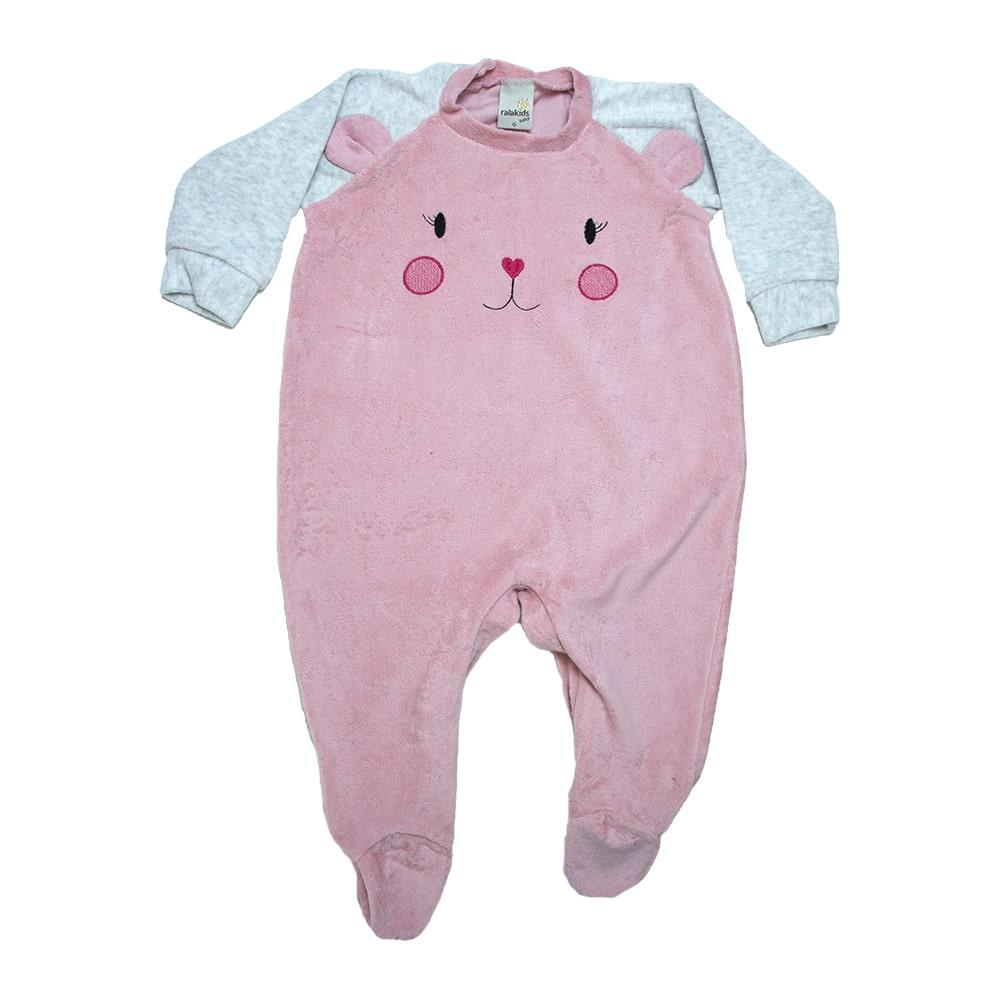 Macacão Bebê Com Bordado e Orelhinhas Rosê  - Jeito Infantil