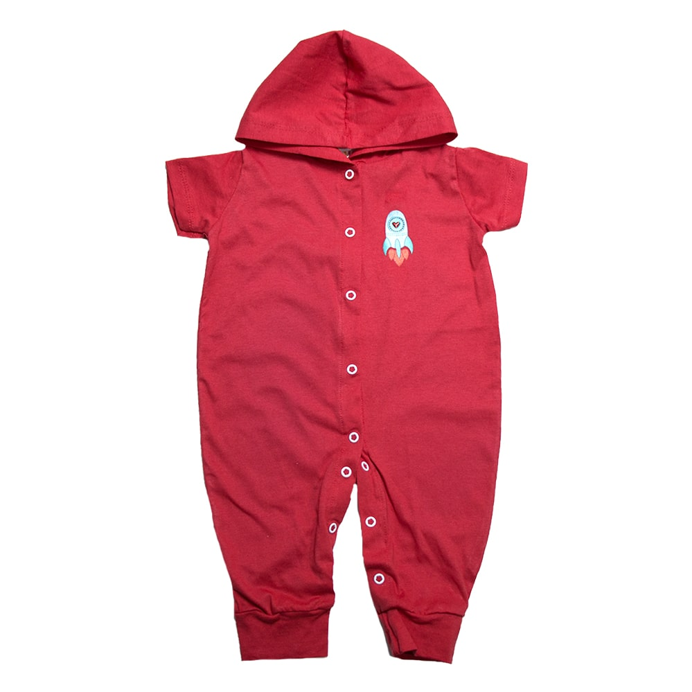 Macacão Bebê Com Capuz Aplique  Vermelho  - Jeito Infantil