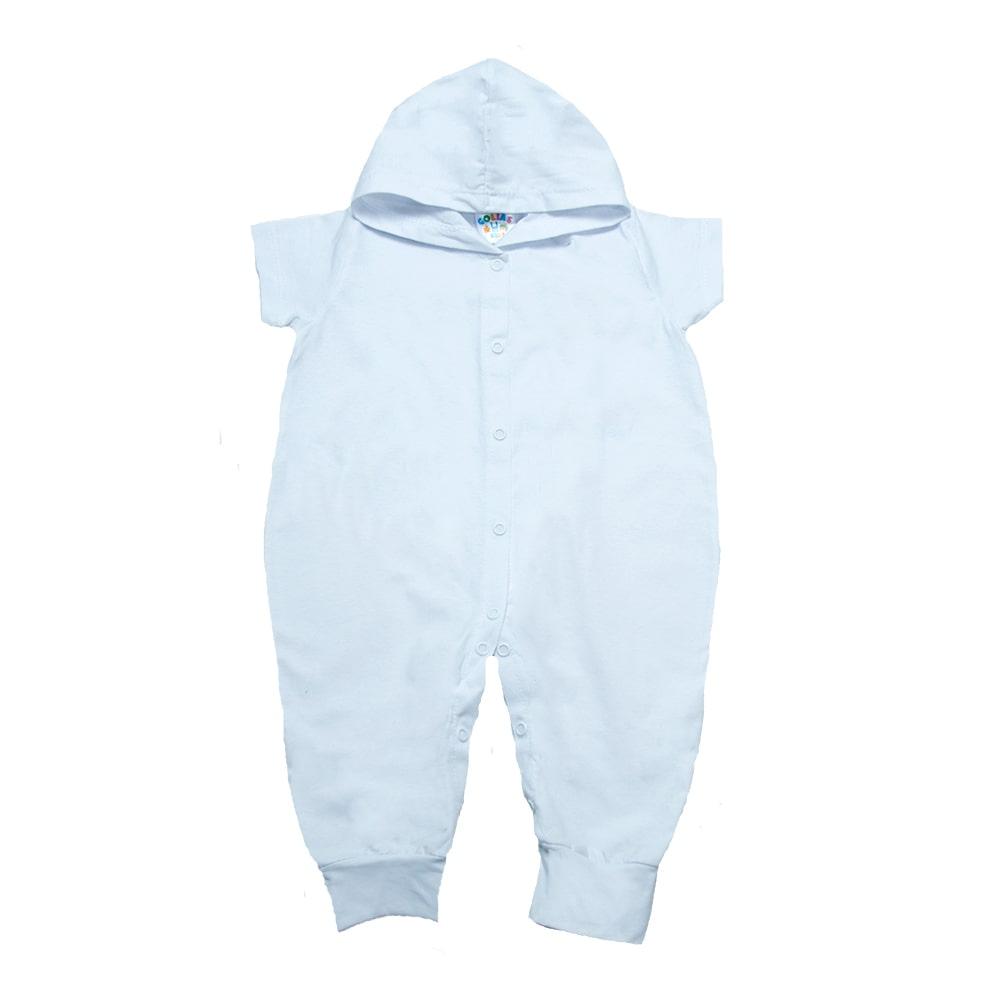 Macacão Bebê Com Capuz Branco  - Jeito Infantil