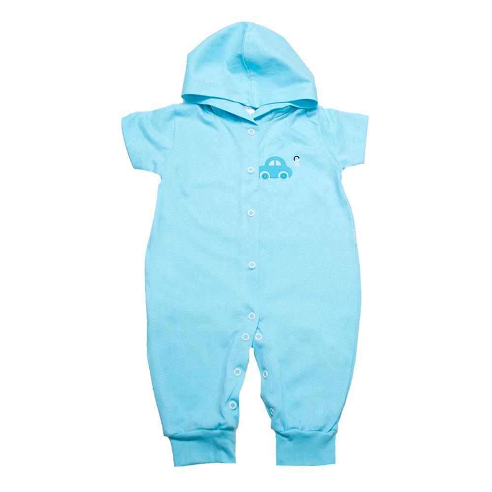 Macacão Bebê Com Capuz e Aplique  Azul  - Jeito Infantil