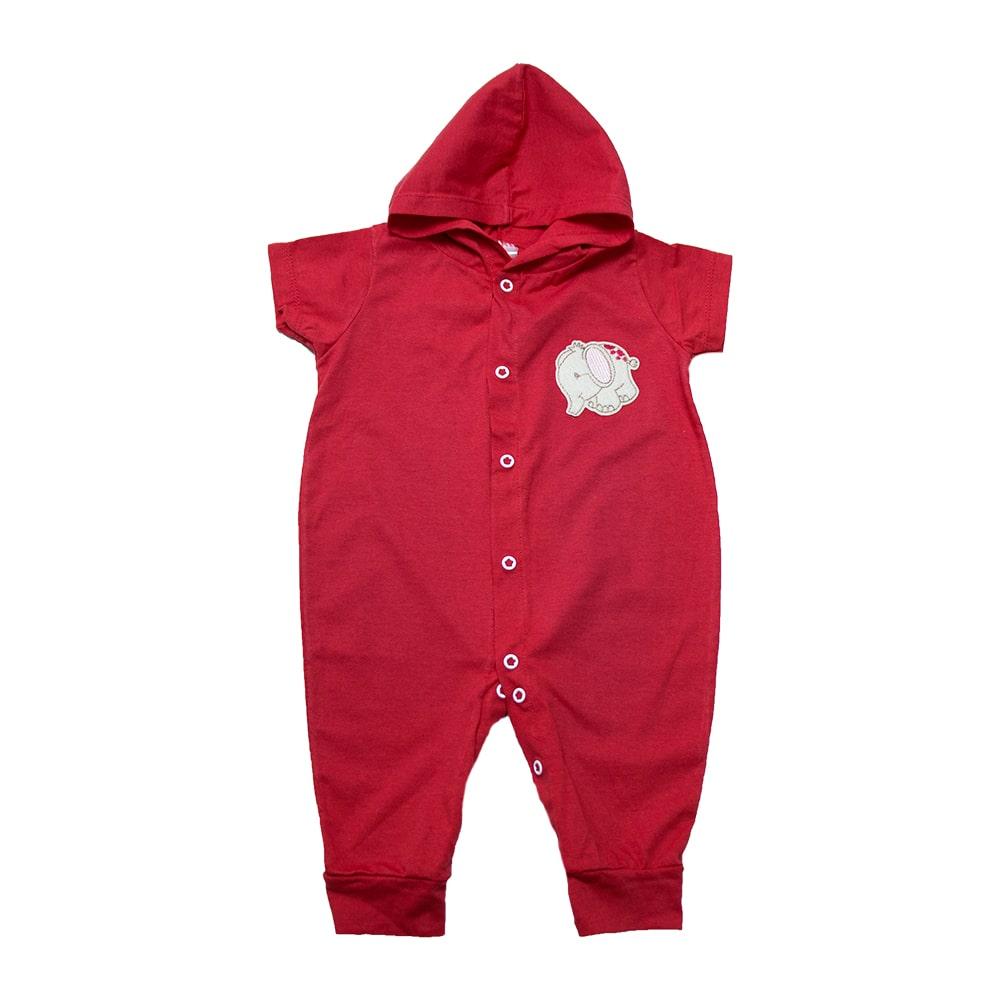 Macacão Bebê Com Capuz e Aplique  Vermelho  - Jeito Infantil