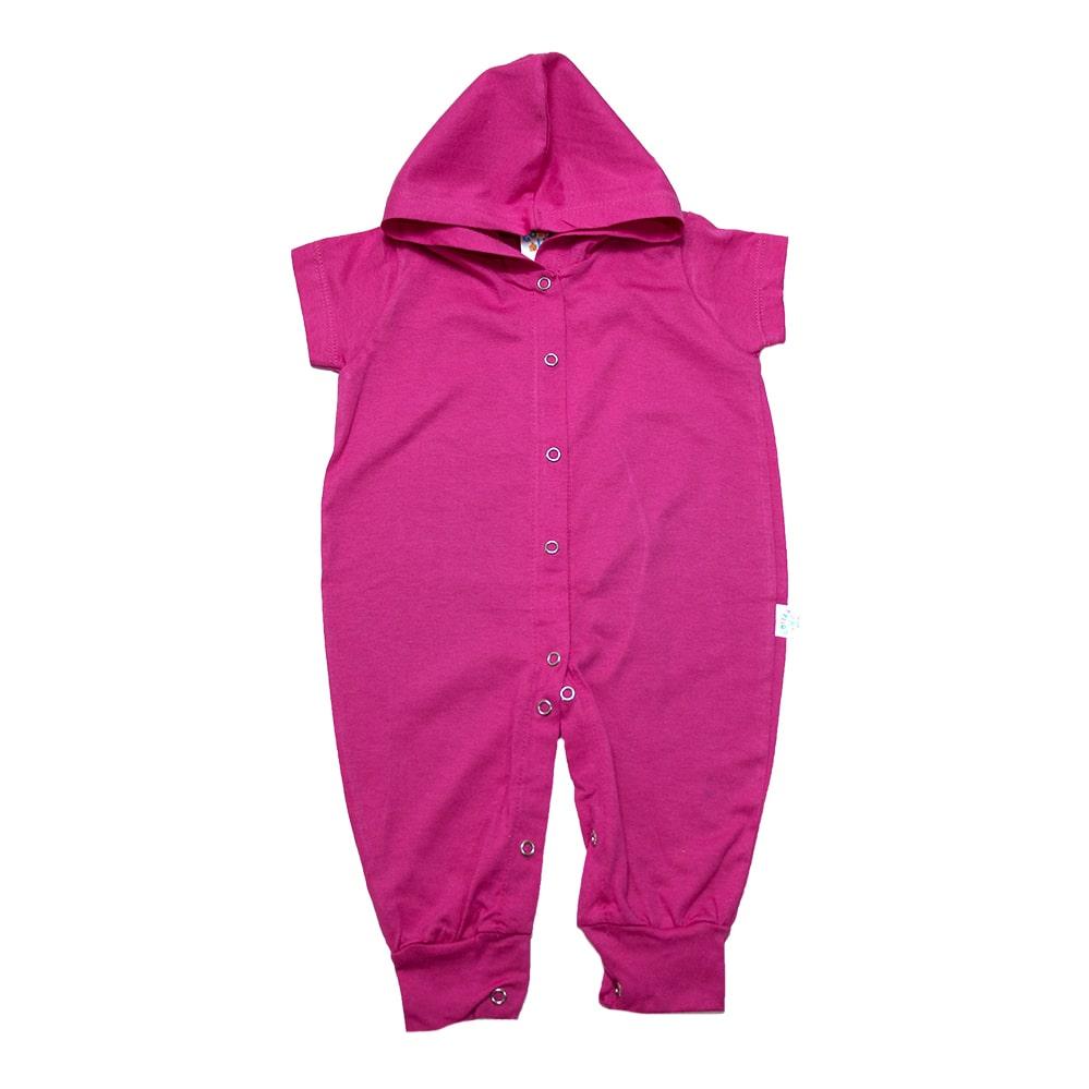 Macacão Bebê Com Capuz Pink  - Jeito Infantil