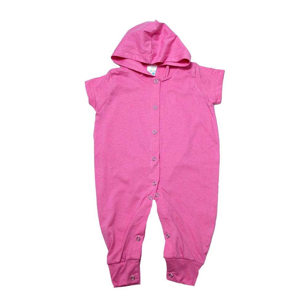 Macacão Bebê Com Capuz  Rosa  - Jeito Infantil