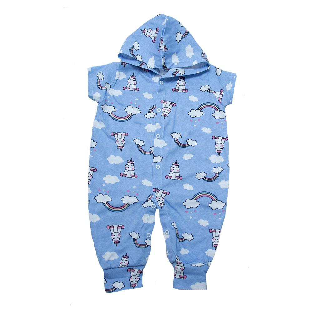 Macacão Bebê Com Capuz Unicórnio  Azul  - Jeito Infantil