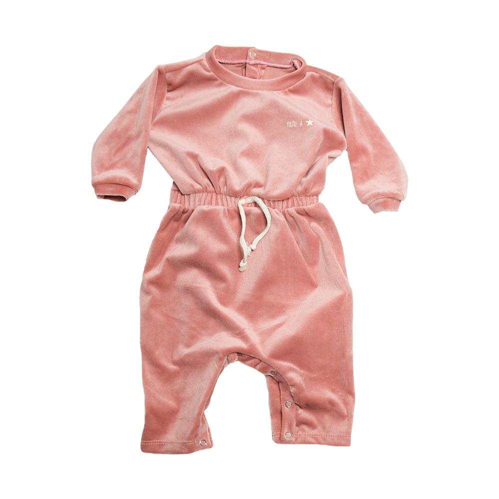 Macacão Bebê Com Elástico  Na Cintura Rosê  - Jeito Infantil