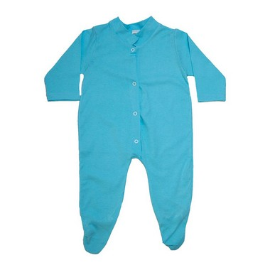 Macacão Bebê Com Pézinho  Azul  - Jeito Infantil