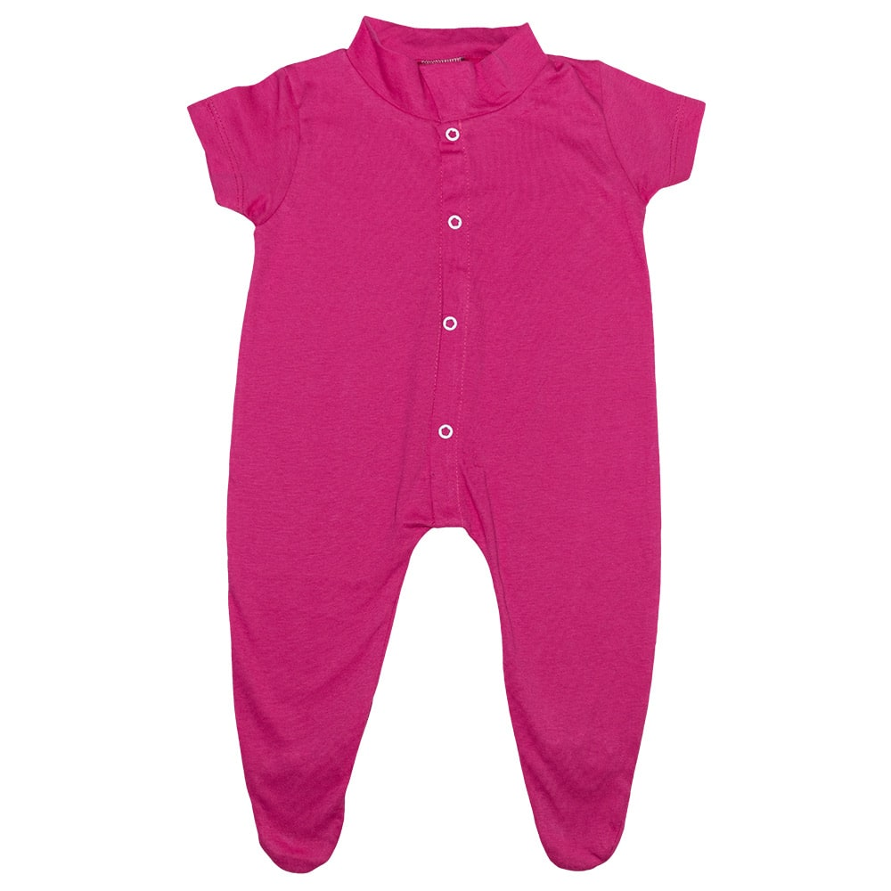Macacão Bebê Com Pézinho Pink  - Jeito Infantil
