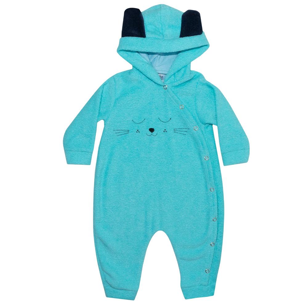 Macacão Bebê Gatinho Azul  - Jeito Infantil
