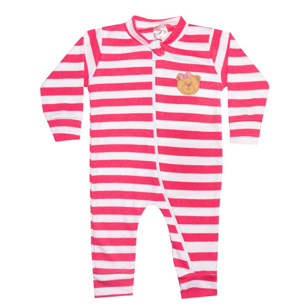 Macacão Bebê Listrado Com Aplique Ursinha Pink  - Jeito Infantil