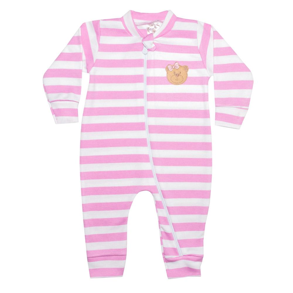 Macacão Bebê Listrado Com Aplique Ursinha Rosa  - Jeito Infantil