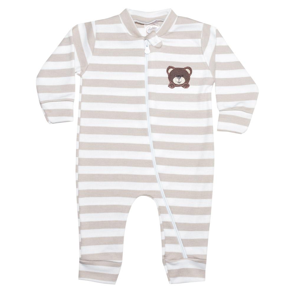 Macacão Bebê Listrado Com Aplique Urso Bege  - Jeito Infantil
