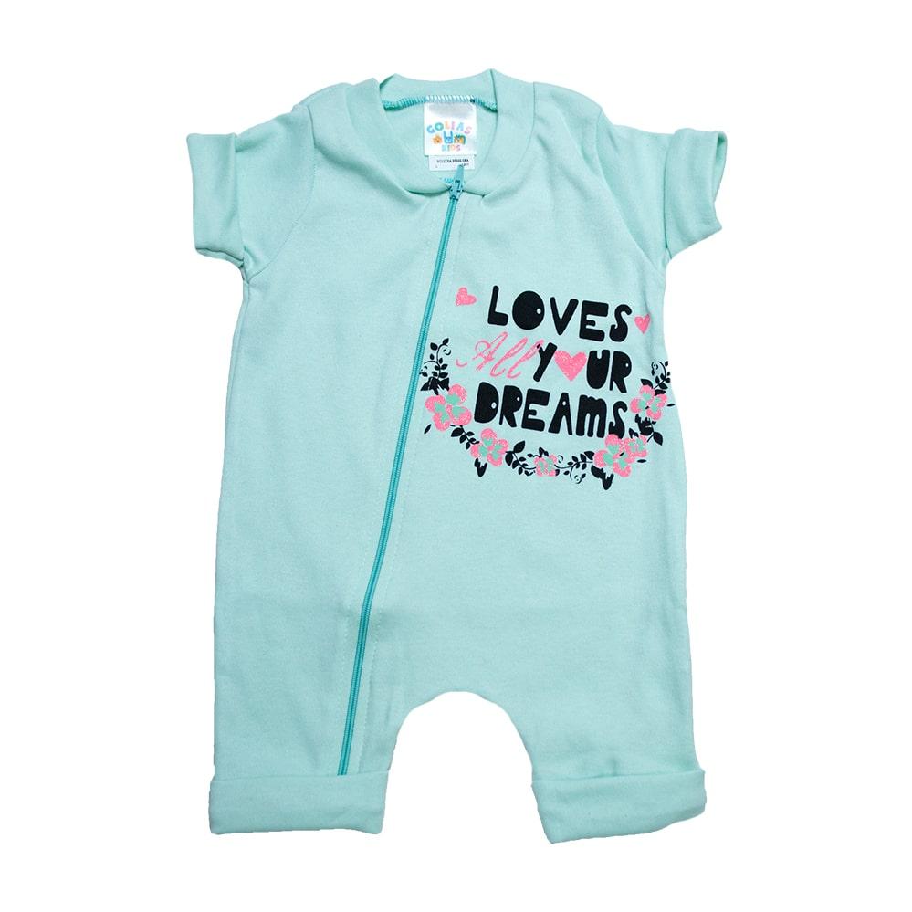 Macacão Bebê Loves  Verde  - Jeito Infantil