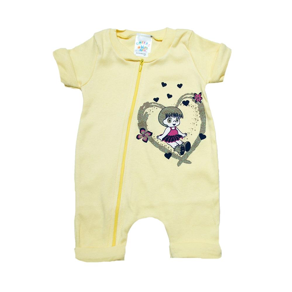 Macacão Bebê Menina  Amarelo   - Jeito Infantil