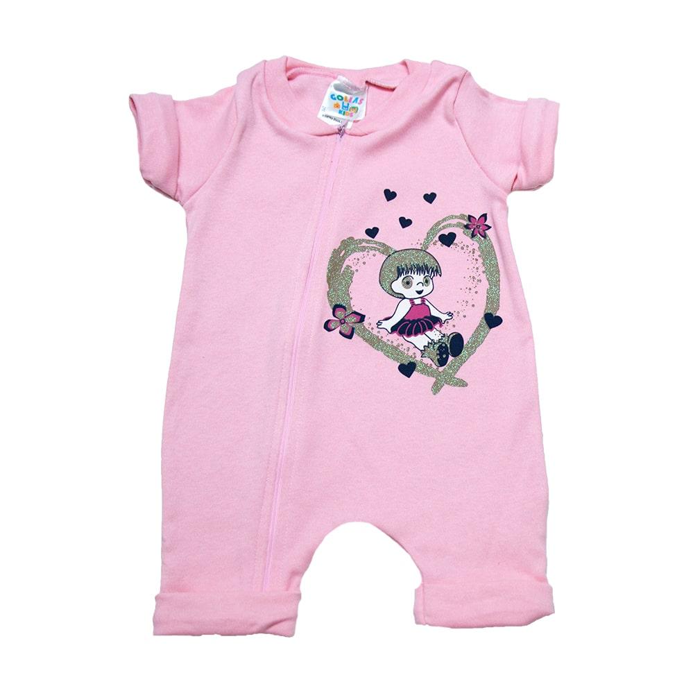 Macacão Bebê Menina  Rosa  - Jeito Infantil
