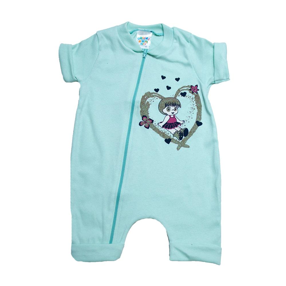 Macacão Bebê Menina Verde  - Jeito Infantil