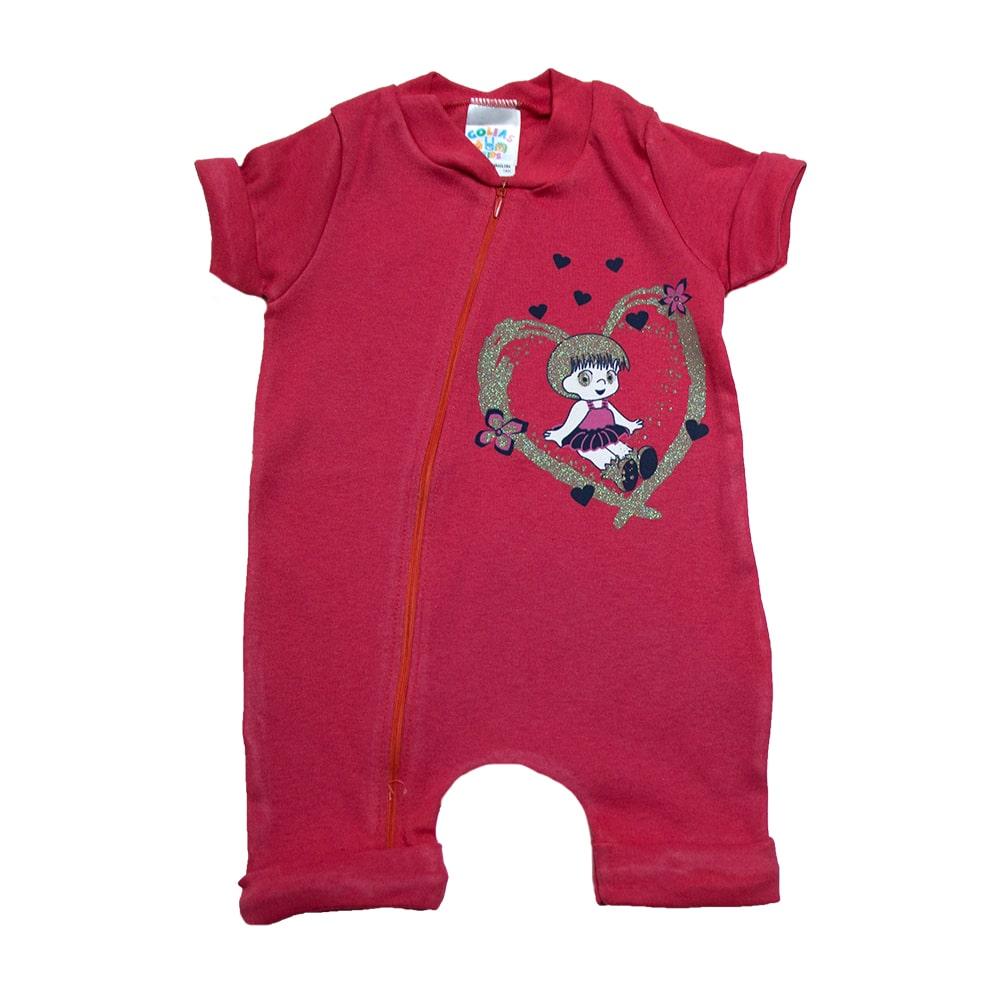 Macacão Bebê Menina Vermelho  - Jeito Infantil
