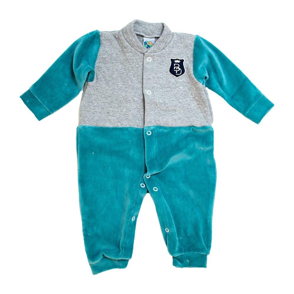 Macacão Bebê Plush e Matelassê Verde  - Jeito Infantil