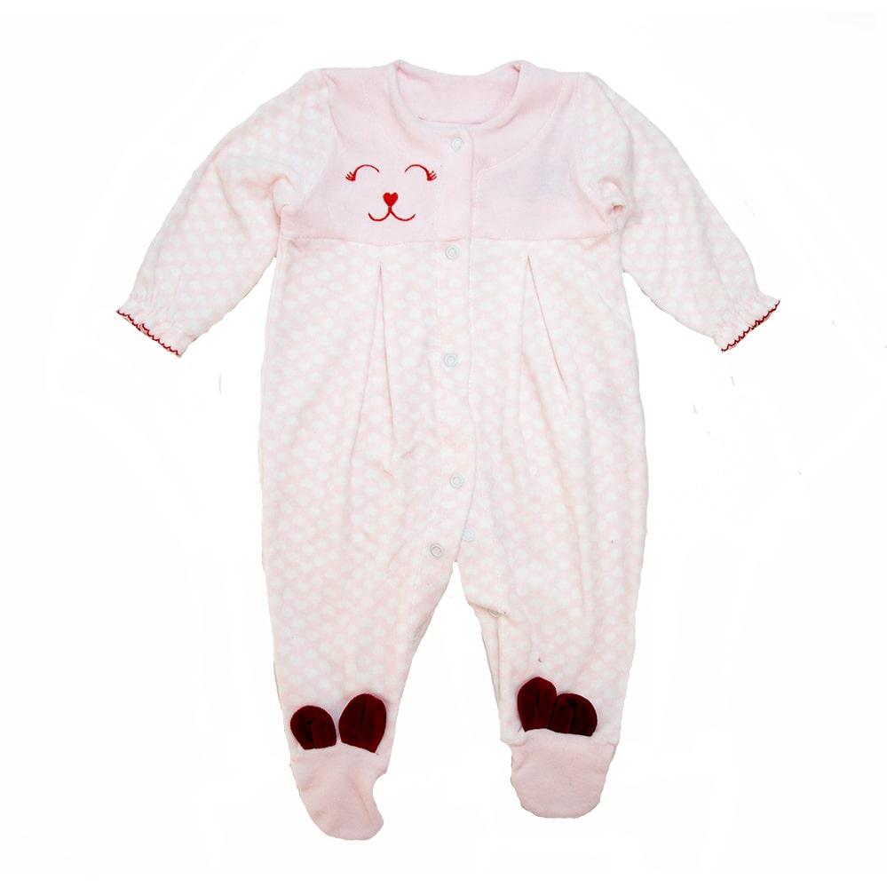 Macacão Bebê Plush Estampado Rosa  - Jeito Infantil